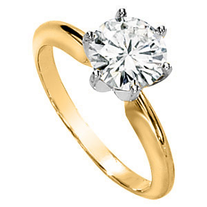 14kt Two-tone Gold 1 1/2 ct Moissanite Solitaire Ring