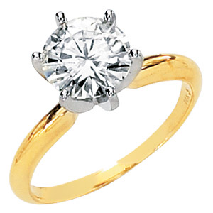 14kt Two-tone Gold 2 ct Forever One Moissanite Solitaire Ring