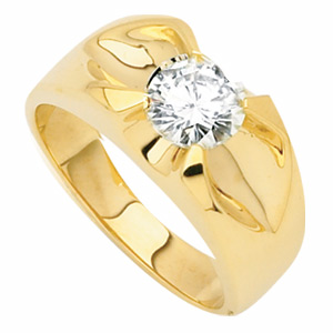 14k Yellow Gold 1.5 ct Forever One Moissanite Men's Belcher Cut Ring
