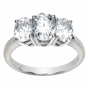 14kt White Gold 3.37 CT TW Moissanite 3-Stone Oval Cut Ring