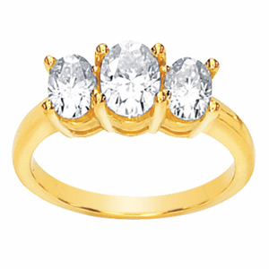 14kt Yellow Gold 1.90 CT Oval Moissanite 3-Stone Ring