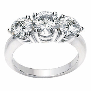 14kt White Gold 2 CT 3-Stone Forever Brilliant Moissanite Ring