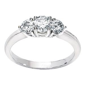 14kt White Gold 1 CT 3-Stone Moissanite Ring