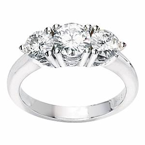 14kt White Gold 1.75 ct 3-Stone Moissanite Ring