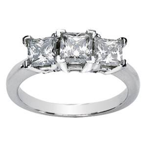 14kt White Gold 2 CT TW Square Forever Classic Moissanite 3-Stone Ring