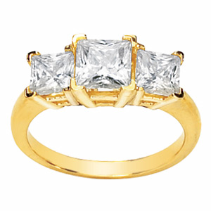 14kt Yellow Gold 3 CT TW Square Moissanite 3-Stone Ring