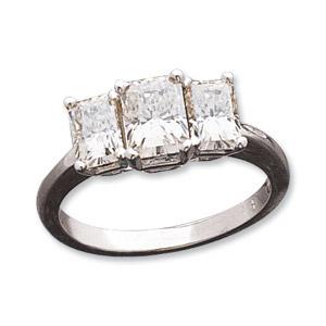 14kt White Gold 2.50 ct Radiant Moissanite 3-Stone Ring