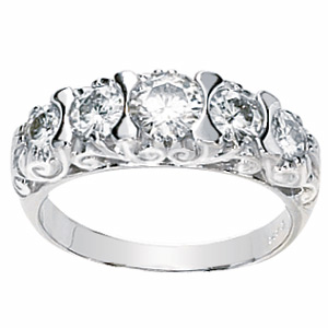 1 1/3 ct Five-Stone Forever One Moissanite Ring 14k White Gold