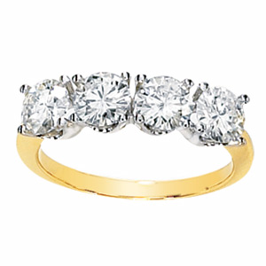 14kt Two-tone Gold 2 ct 4-Stone Moissanite Ring