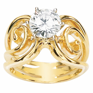 1.5 CT Moissanite Portico Ring - 14kt Yellow Gold