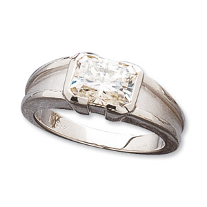 1.9 CT TW 14KW Moissanite Radiant Cut Solitaire Ring