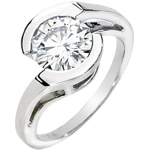 1.00 CT 14KW Moissanite Asymmetric Ring