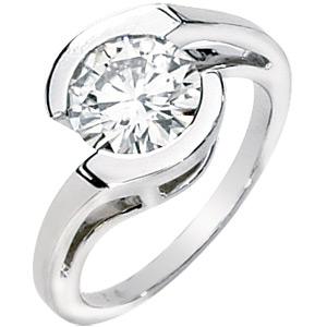 14k White Gold 1 ct Forever Classic Moissanite Asymmetric Ring