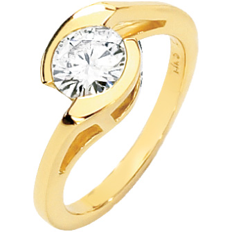 14kt Yellow Gold 1 ct Moissanite Asymmetric Ring