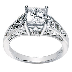 14kt White Gold 1.25 ct Forever Classic Moissanite Ring with Floral Motif