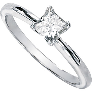 14kt White Gold 0.43 CT Moissanite Square Brilliant Ring