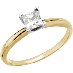 14kt Two Tone Gold 0.43 CT Moissanite Square Brilliant Ring