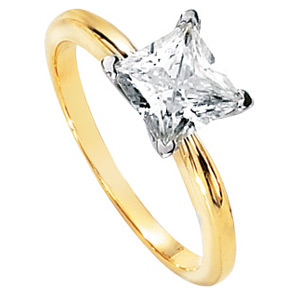 14kt Two Tone Gold 0.82 CT Moissanite Square Brilliant Ring