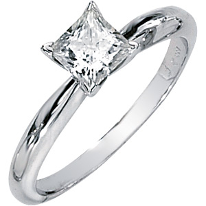 14kt White Gold 0.82 CT Moissanite Square Brilliant Ring