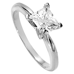 14kt White Gold 1.72 CT Moissanite Square Brilliant Ring