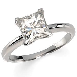 14kt White Gold 2.16 CT Moissanite Square Brilliant Ring