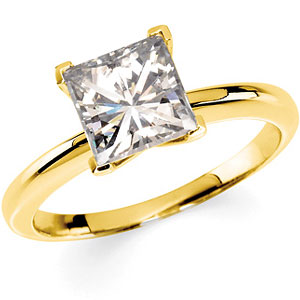 14kt Two tone Gold 2.90 CT Moissanite Square Brilliant Ring