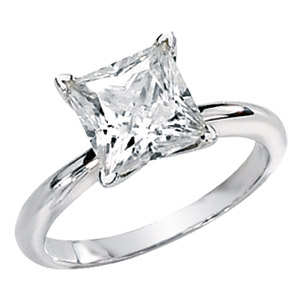14kt White Gold 2.90 ct Moissanite Square Brilliant Ring