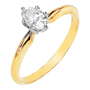 14kt Two-tone Gold 1/2 ct Oval Moissanite Ring