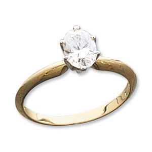14kt Two-tone Gold 9/10 ct Oval Moissanite Ring