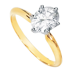 14kt Two-tone Gold 1.50 ct Moissanite Oval Ring