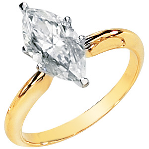 14kt Two-tone Gold 1.75 ct Moissanite Marquise Ring