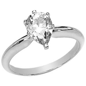 1.55 CT 14KW Moissanite Pear Solitaire Ring