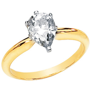 14kt Two-tone Gold 1.55 CT Moissanite Pear Solitaire Ring