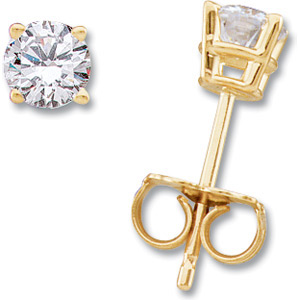 14kt Yellow Gold 2 ct tw Moissanite Stud Earrings