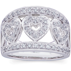 14k White Gold 1/2 CT TW Diamond Fashion Hearts Ring