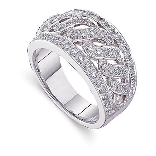 14k White Gold 1/2 CT TW Diamond Fashion Ring with S Design