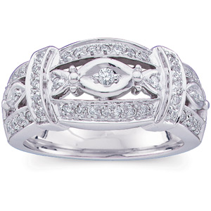 1/4 CT TW 14kt White Gold Diamond Fashion Ring