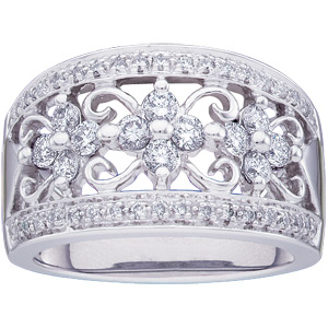3/4 CT TW 14kt White Gold Diamond Fashion Ring