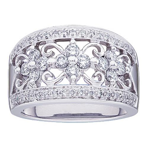 3/4 CT TW 14kt White Gold Diamond Fashion Ring