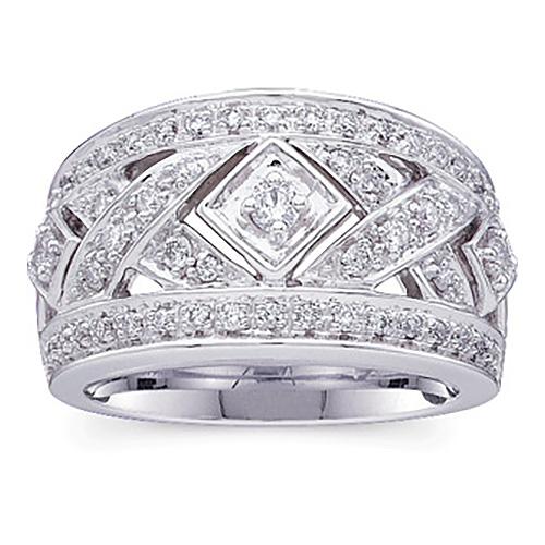 1/2 CT TW 14kt White Gold Diamond Fashion Ring