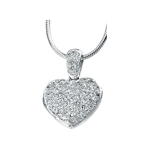 Cubic Zirconia Heart Locket 18in Necklace