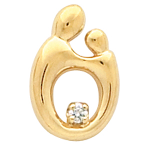 14k Yellow Gold 3/4in Mother & Child Pendant