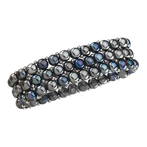 Sterling Silver Freshwater Cultured Black Pearl Stretch Bracelet