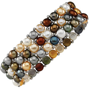 Dyed Multi Pearl and Sterling Silver Bracelet