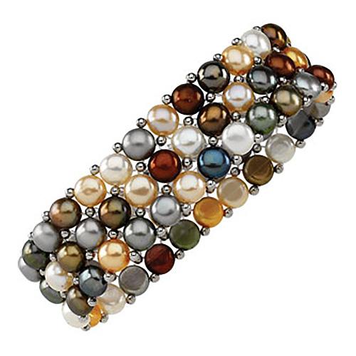 Sterling Silver Dyed Multi Pearl Stretch Bracelet
