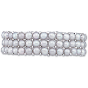Silver Grey Pearl and Sterling Silver Bracelet