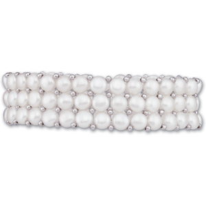 Freshwater Cultured Pearl and Sterling Silver Stretch Bracelet