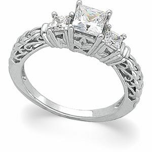 1 1/8 CT TW 14k Three Stone Ring