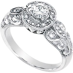14k White Gold 1/2 CT TW Moissanite Paola Ring