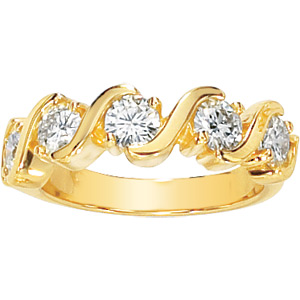 14kt Yellow Gold 1.25 ct Forever Classic Moissanite Anniversary Ring